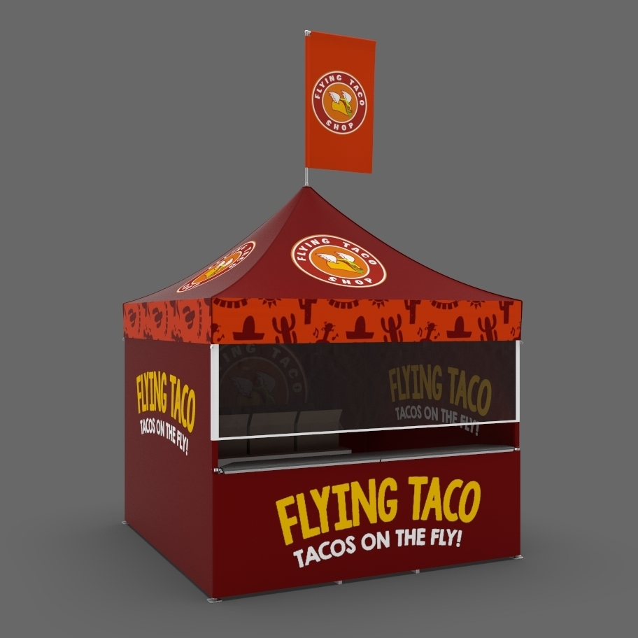 Flying Taco custom printed red popup-canopy for food service