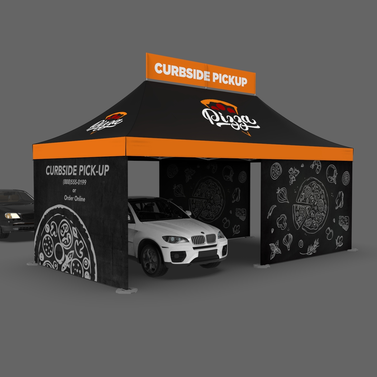 Drive thru pizza tent with black and orange custom printed walls and top banner saying curbside pickup