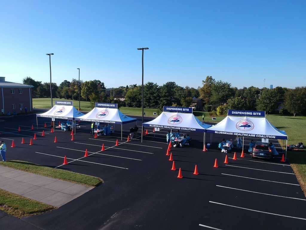 example of covid 19 vaccination drive thru tent