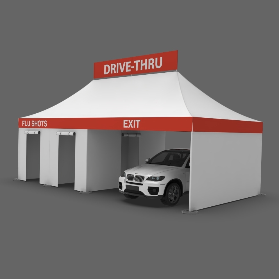 dual sided flu vaccine and Covid screening tent
