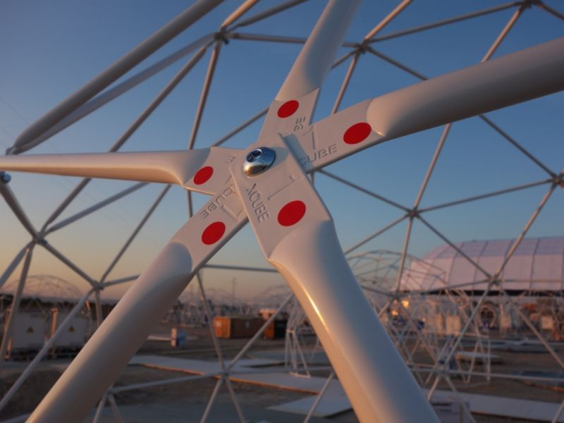 closeup of geodesic dome connection joint