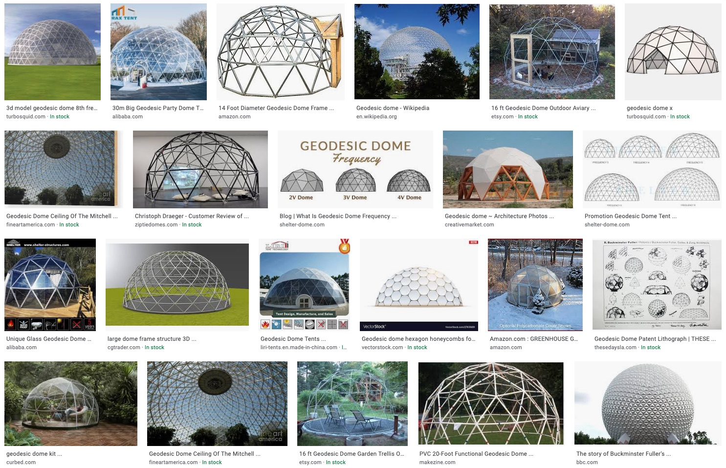 geodesic dome image search results in Google