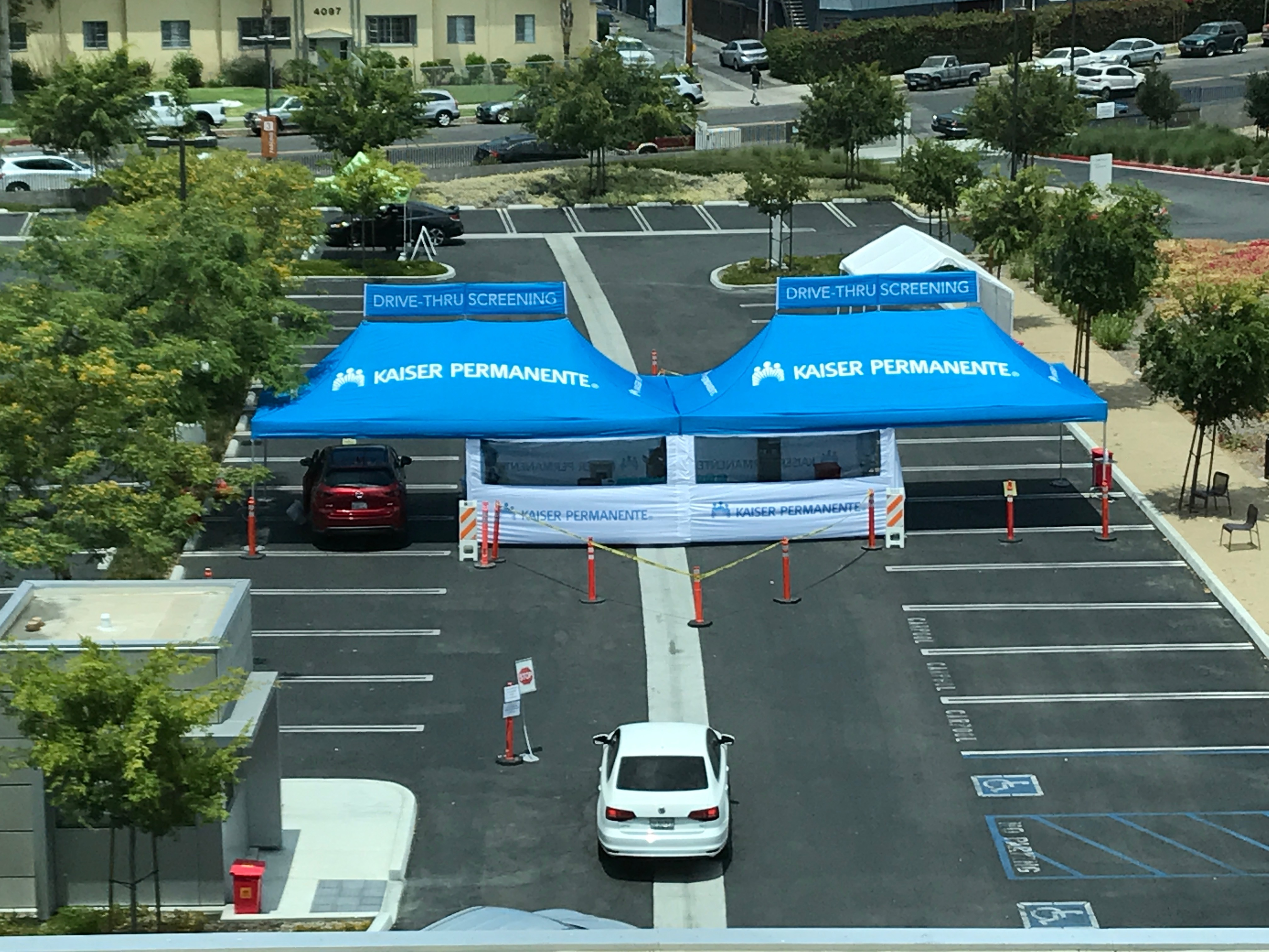 example of drive-thru vaccination tent