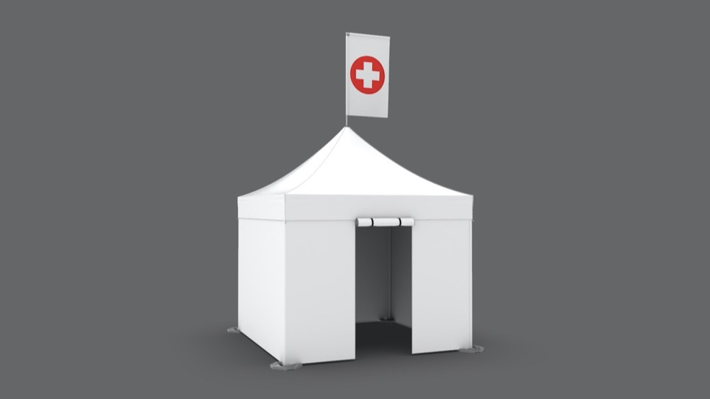 White 10x10 medical popup treatment tent with roll up entryway and custom printed peak flag