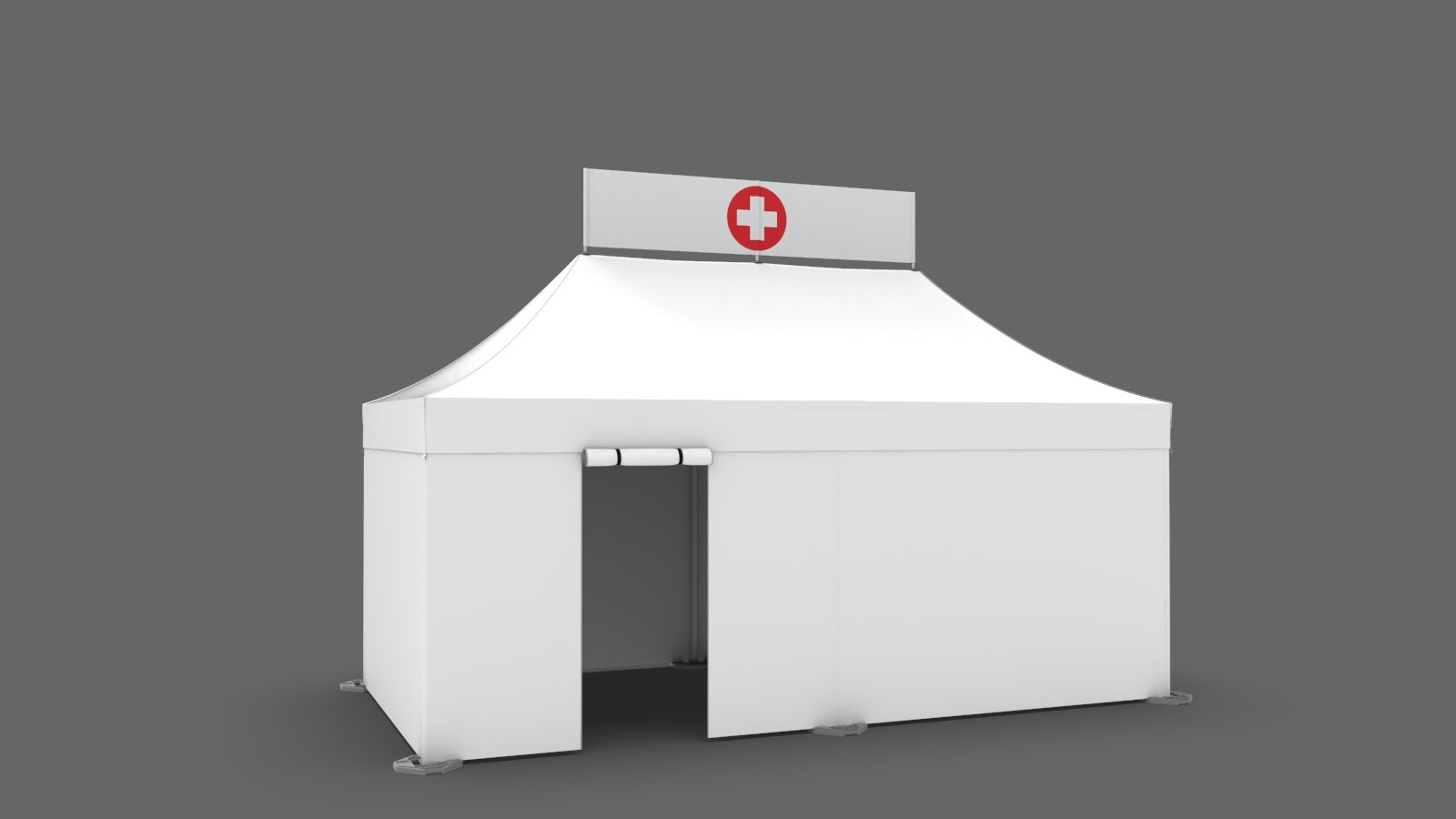 White 10x20 medical tent with roll-up door and custom peak banner with a red cross
