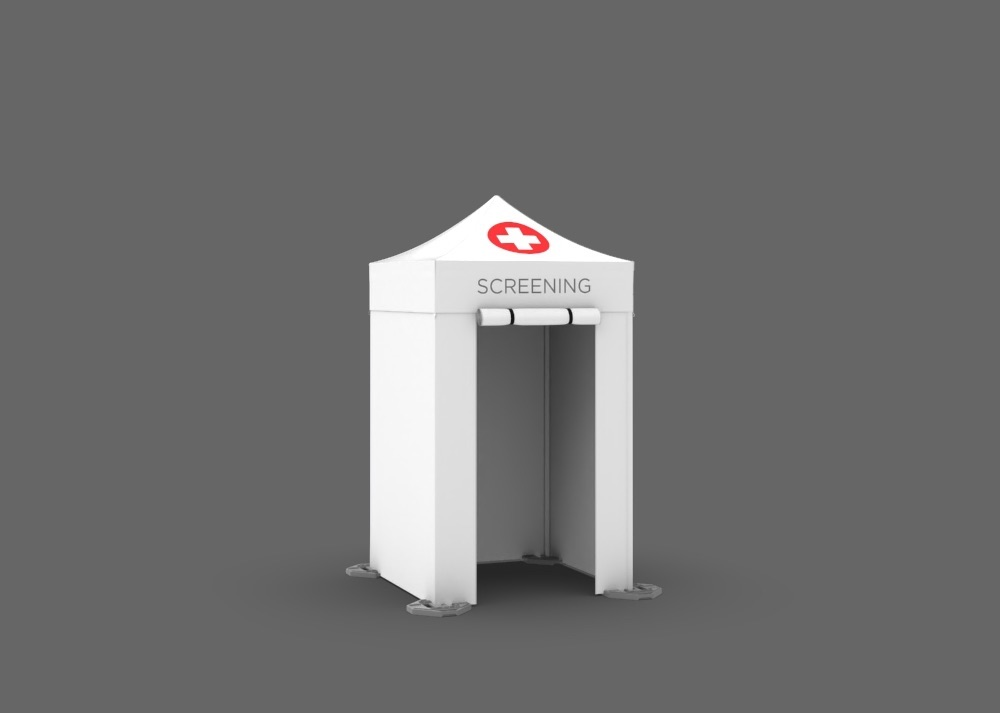 Custom printed white mobile 5x5 tent that reads screening and has a red cross on the roof