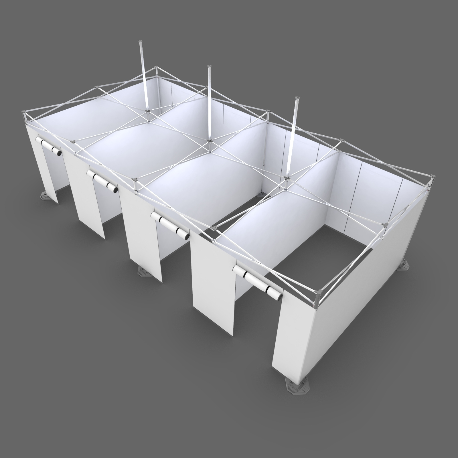 inside view of 13x26, spacious, four-room medical hospital tent for coronavirus treatment