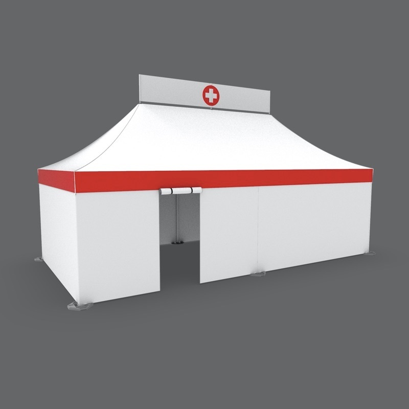 Custom printed white 13x26 medical tent with roll up door