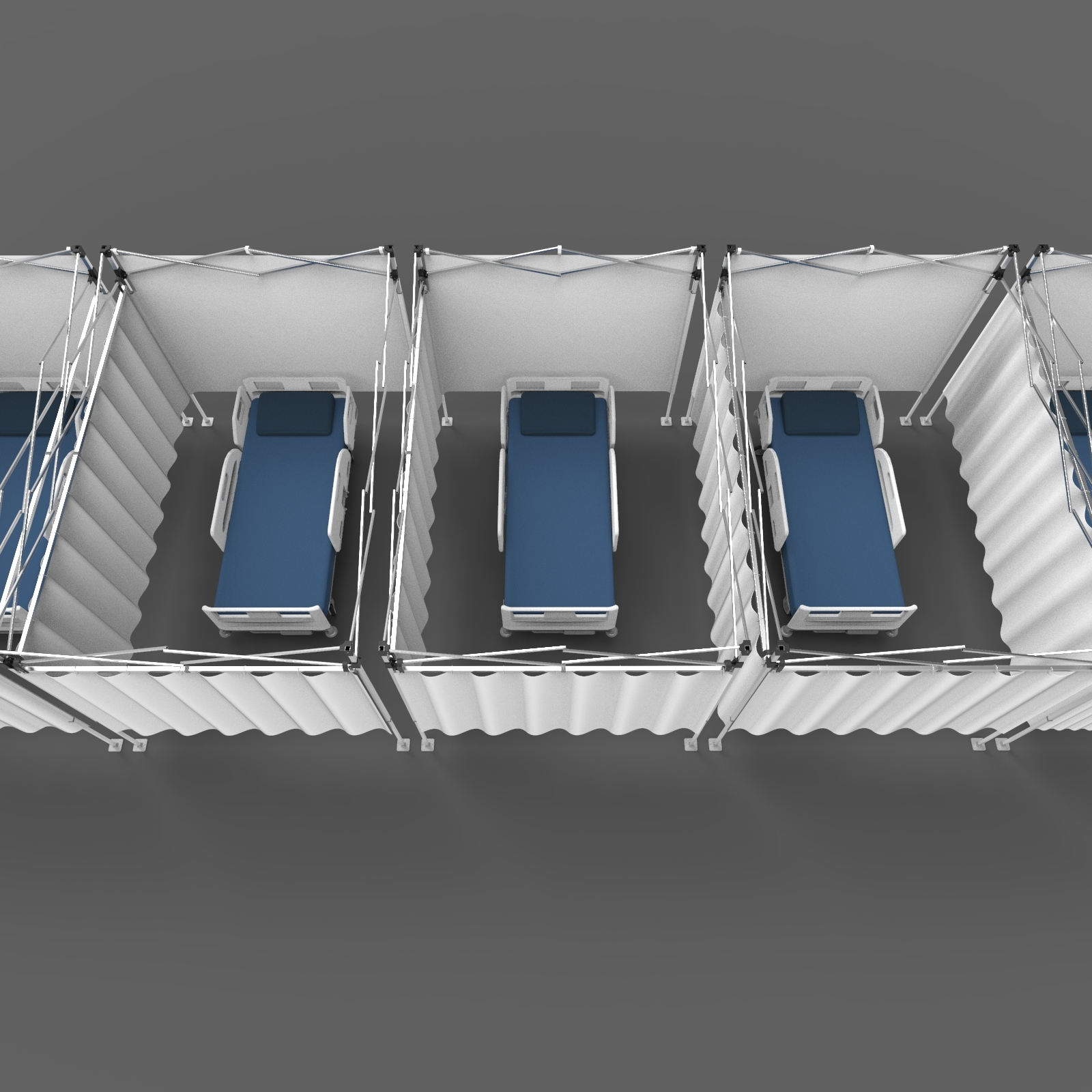 Hospital beds in separate rooms created with a hospital partition system