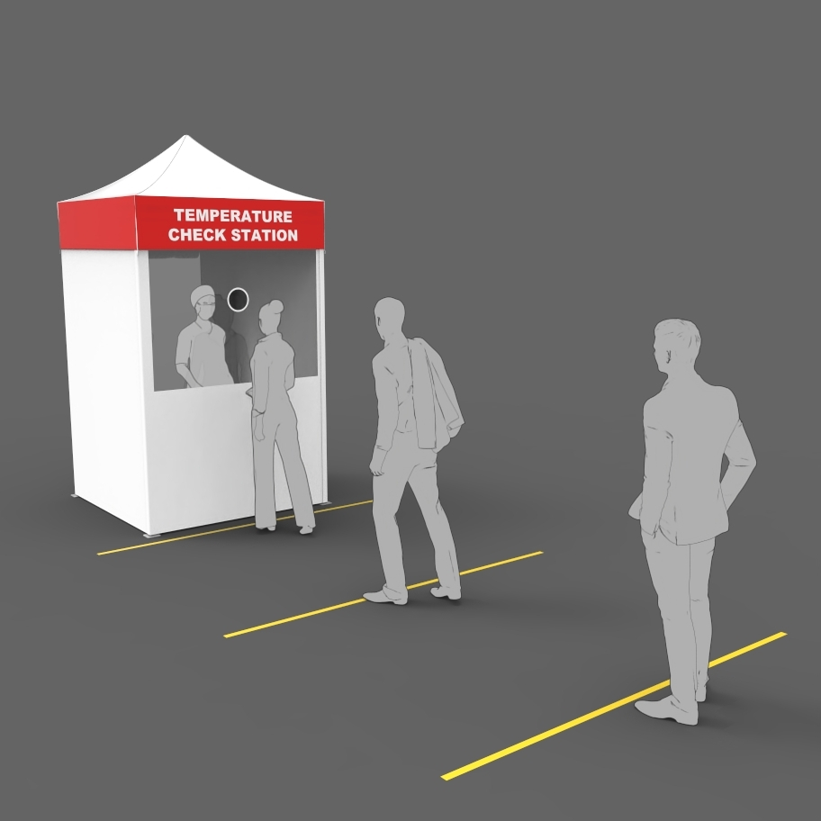 Floor lines separate people that wait to approach the temperature check medical popup-tent