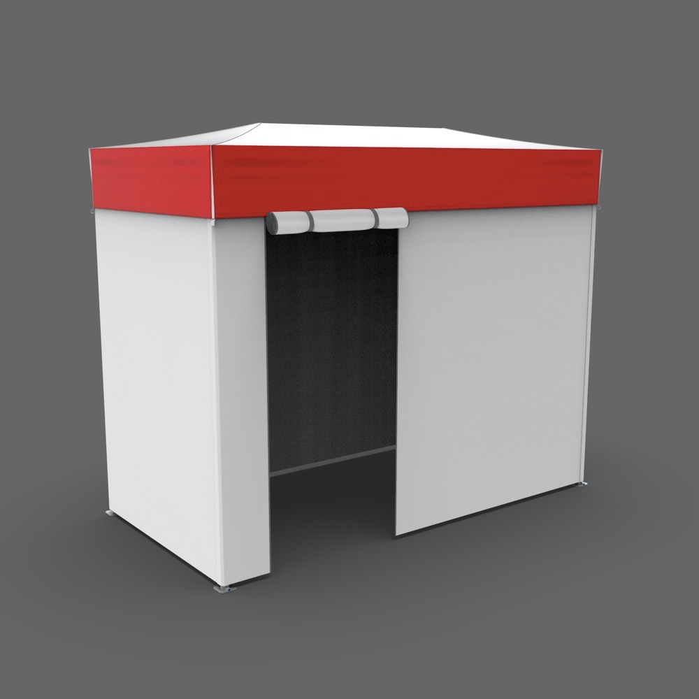 5x10 flat-roof medical tent with white walls and a red border on the roof